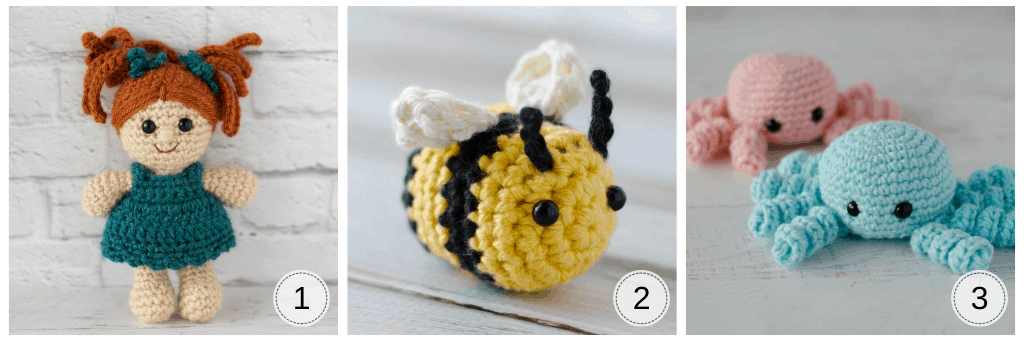 crochet doll, crochet bee and crochet spiders