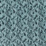 crochet tulip stitch in blue yarn