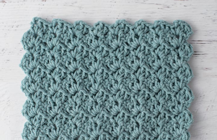 crochet tulip stitch in blue yarn