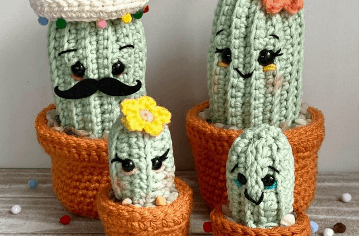 four mexican fiesta cactuses