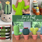 Collage of crochet cactuses