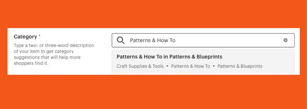 Screenshot of Etsy Listing Category