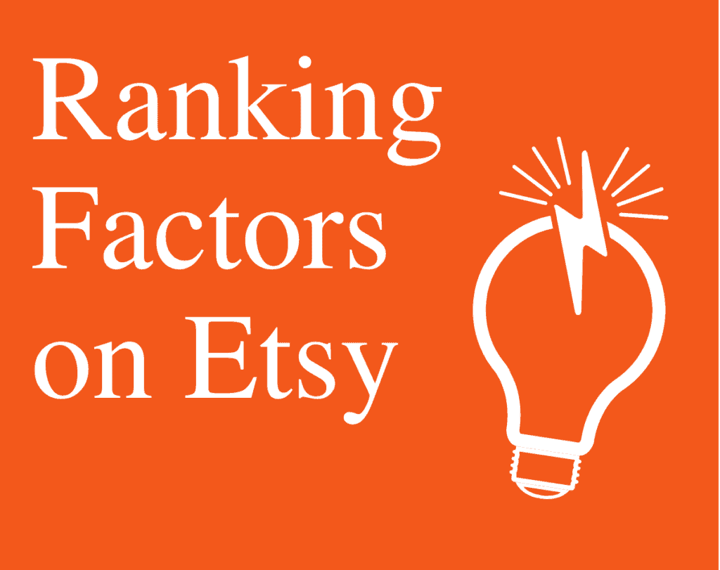 Orange and white graphic ranking factors on etsy with lightbulb
