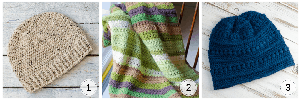 Half double crochet projects: beige hat, green and brown afghan and blue beanie hat