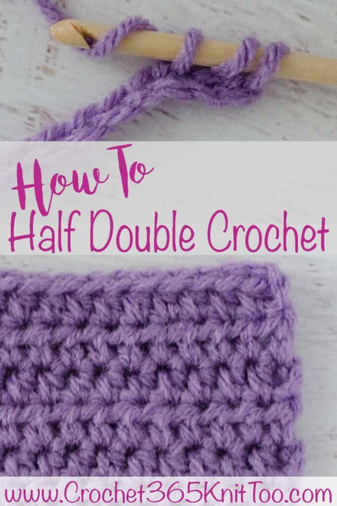 Purple crochet sample of half double crochet stitch
