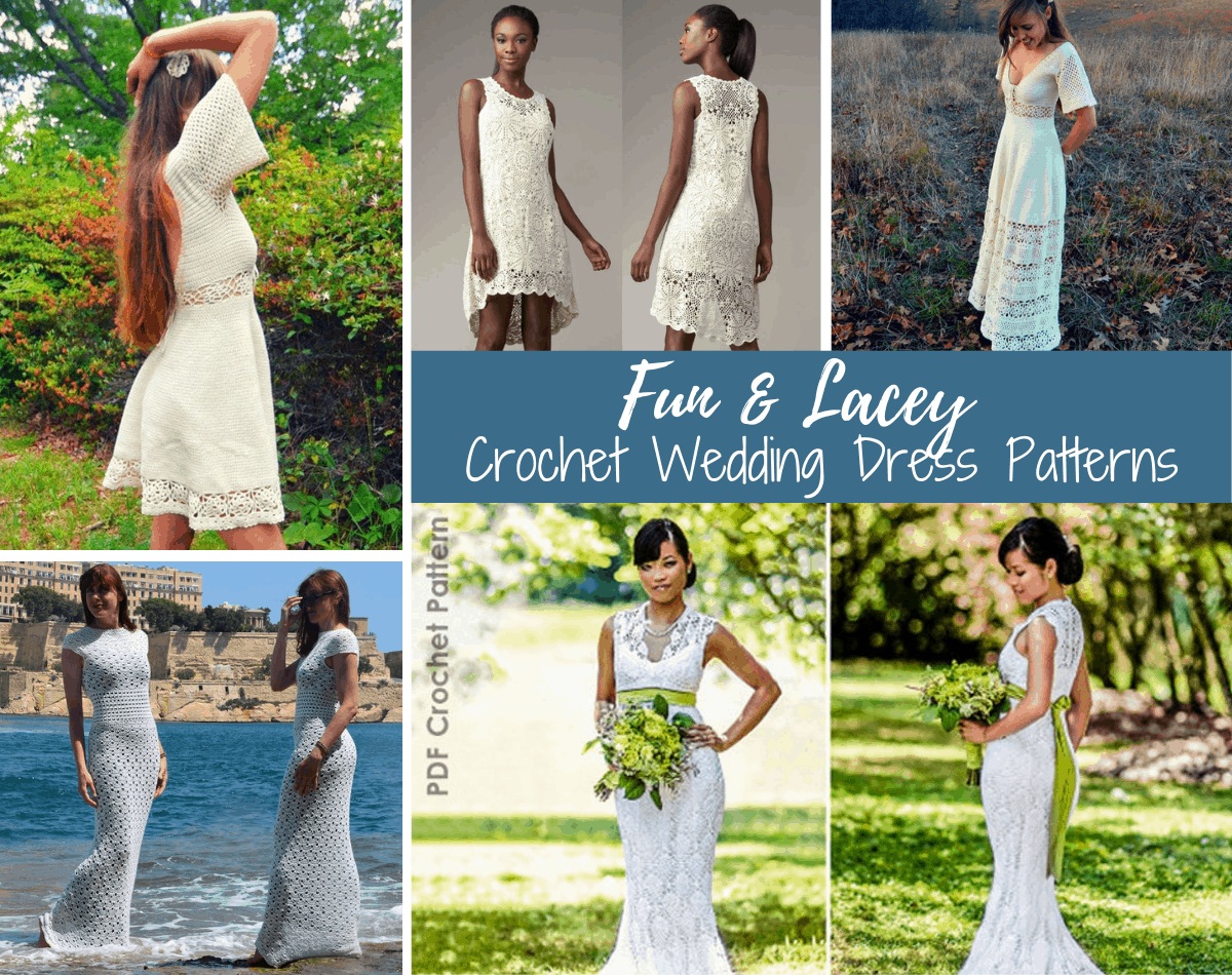 collage of crochet wedding dresses