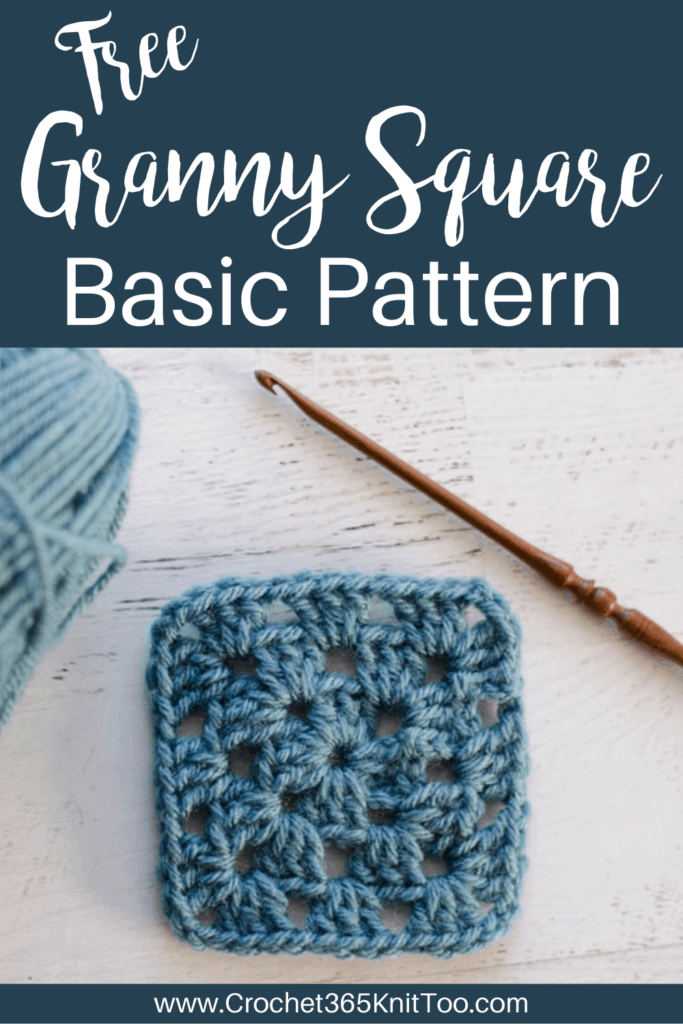 Blue Granny Square with brown crochet hook