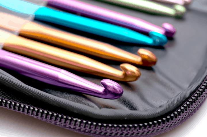 multi color crochet hooks in case