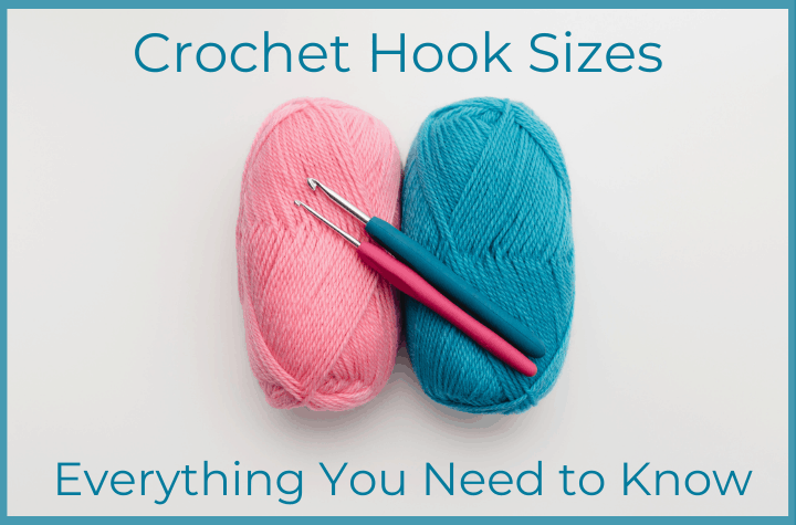 pink and blue yarn and crochet hooks
