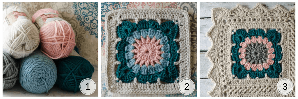 multiple images of a cream, blue and pink crochet afghan