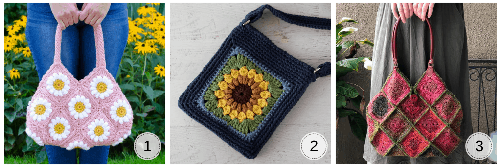 graphic of 3 granny square style bags in various colors