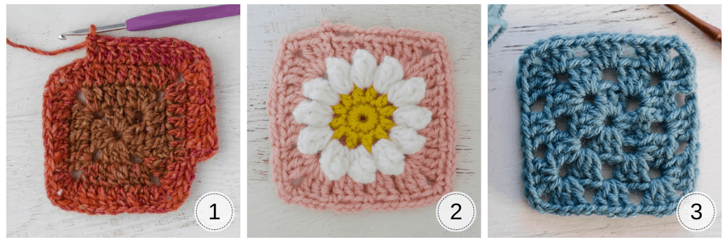 Examples of crochet granny squares