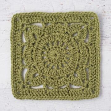 Green crochet afghan square