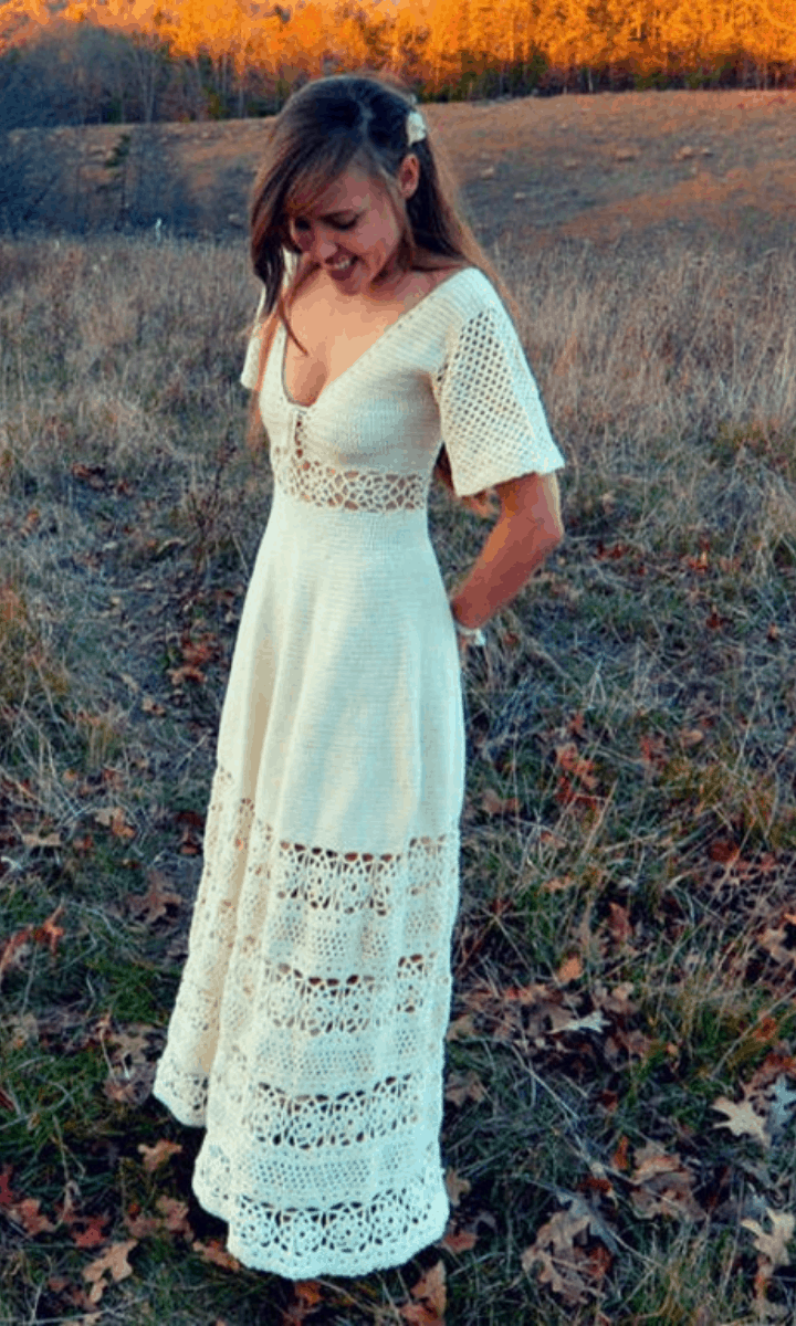 crochet long white maxi dress with short sleeves