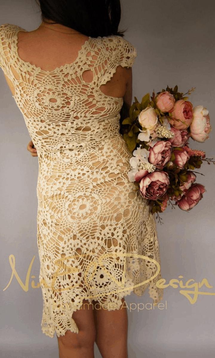 crochet ivory, short-sleeve, knee-length dress