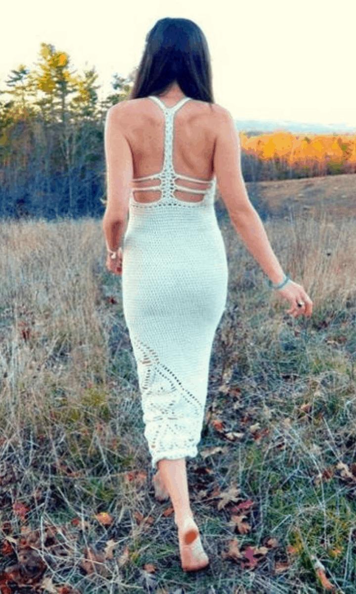 crochet long, white, exposed-back dress