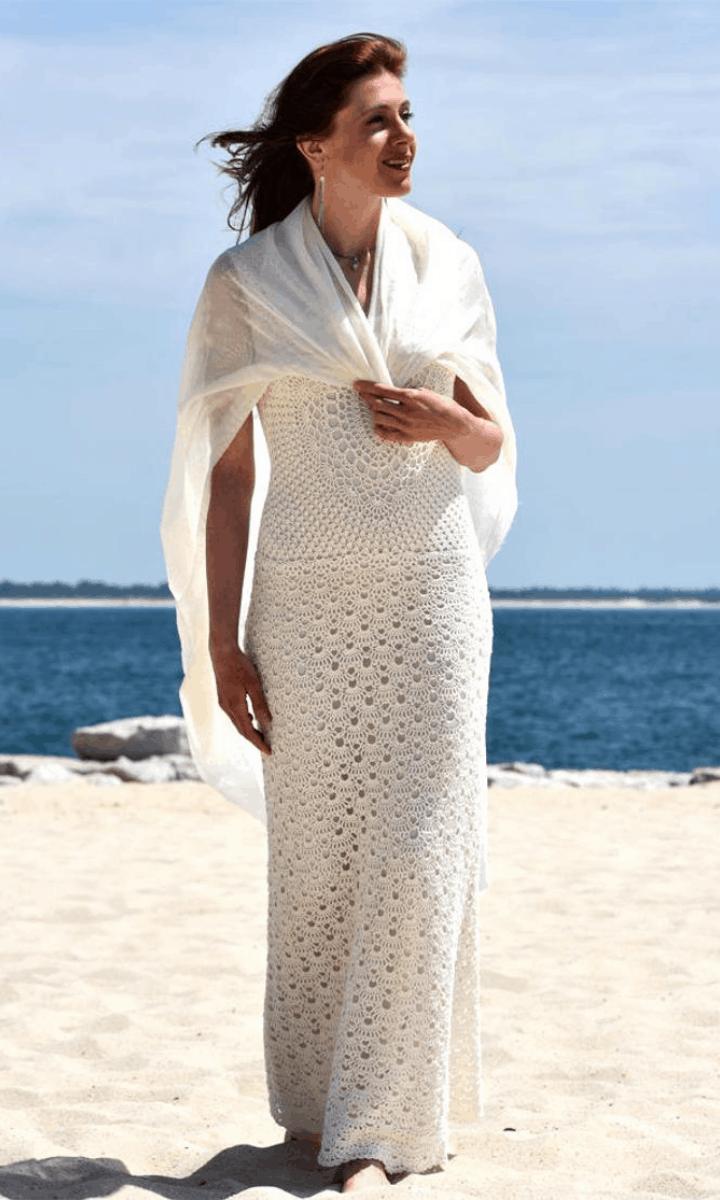 crochet long, white maxi dress with shawl