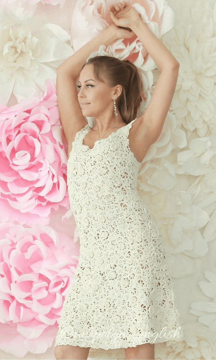 crochet white, tank style, knee-length dress