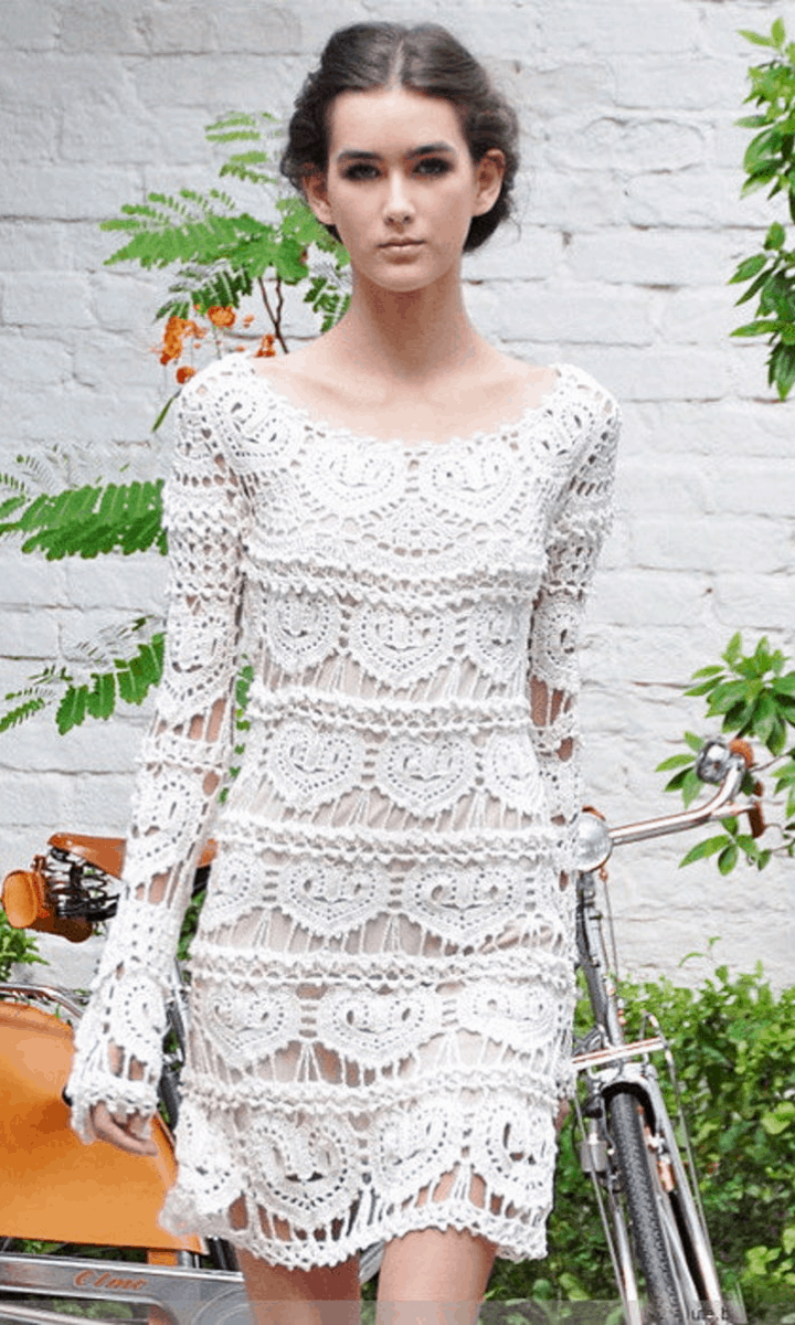 crochet short, white, long-sleeve pencil dress