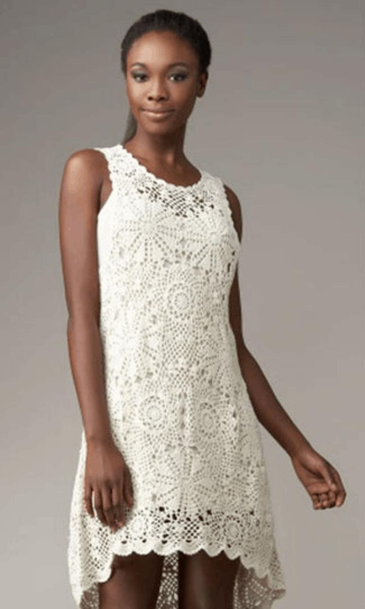 crochet tank top style, high-low knee-length white dress