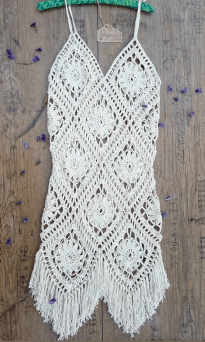 crochet short, white, spaghetti strap dress