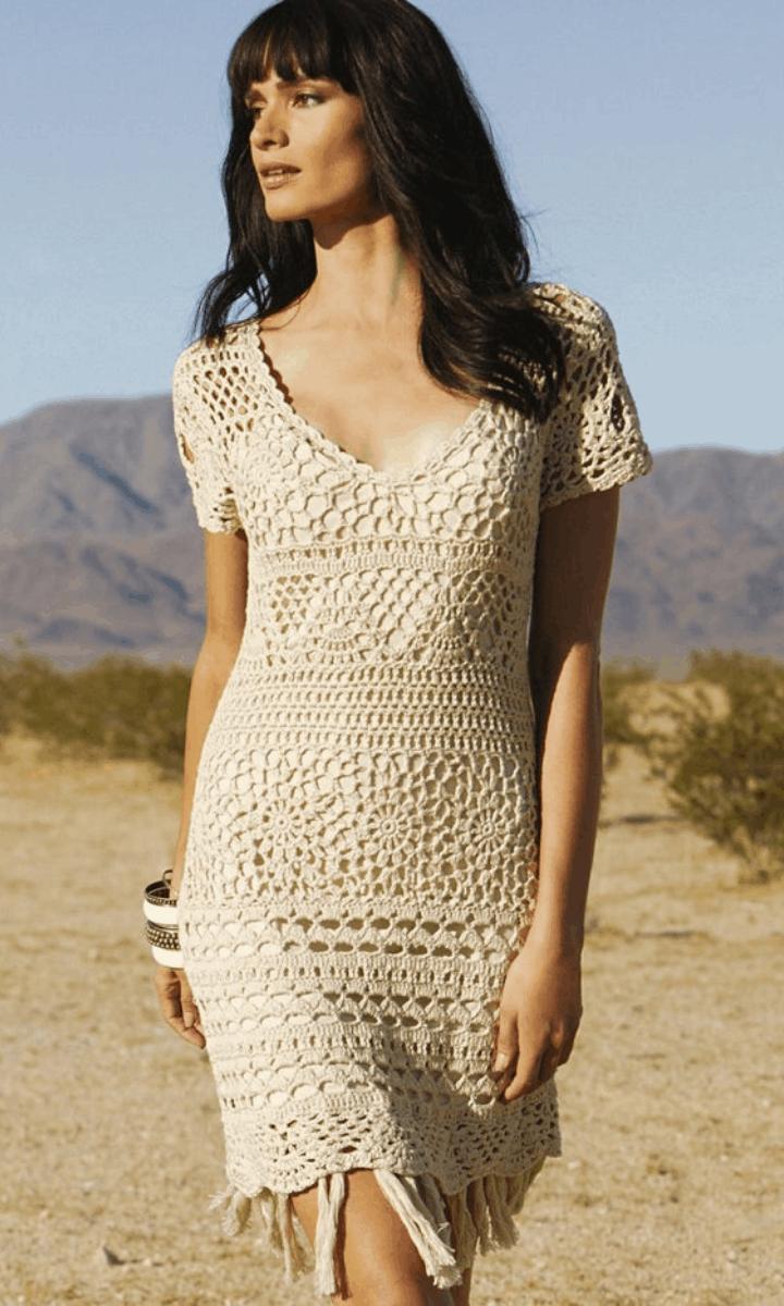 crochet short. ivory, short-sleeve dress