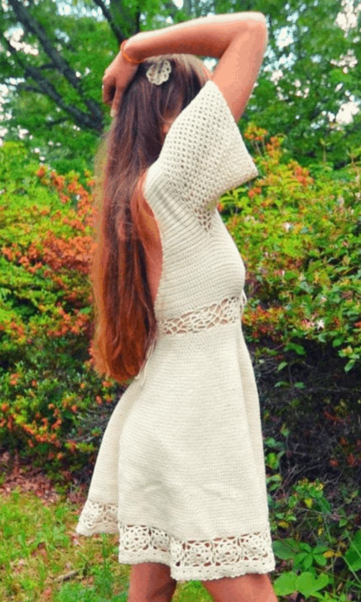 crochet white, short-sleeve, knee-length dress