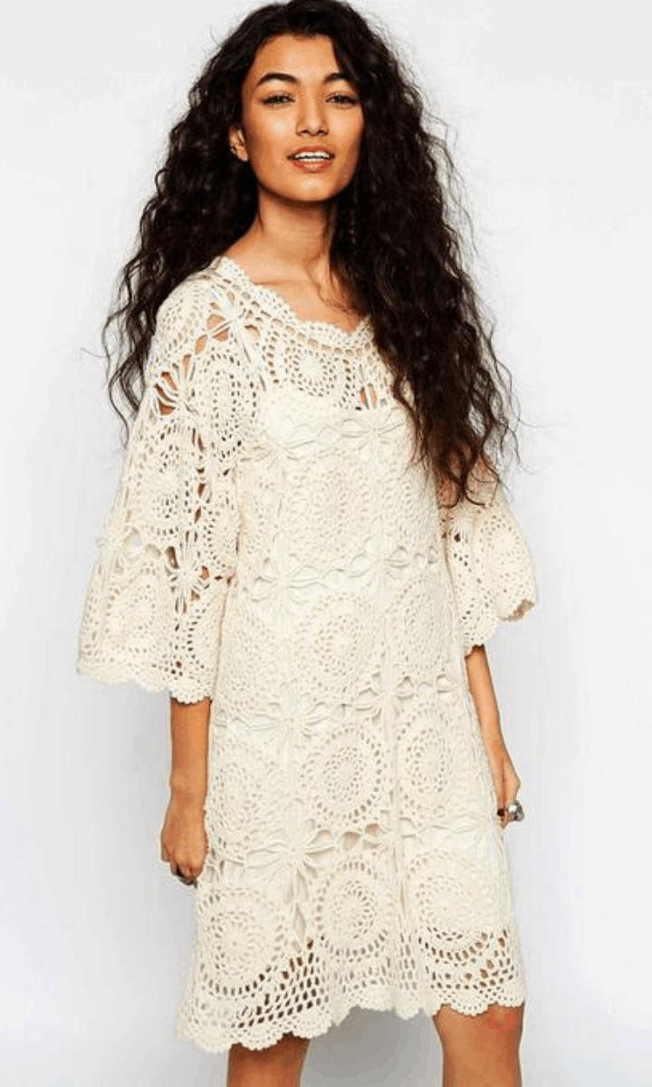 crochet white, 3/4 sleeve, knee-length dress