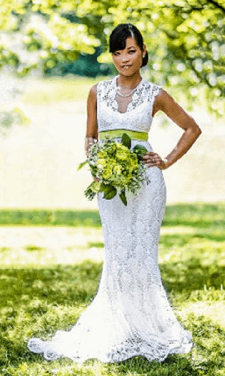 crochet long wedding dress with train