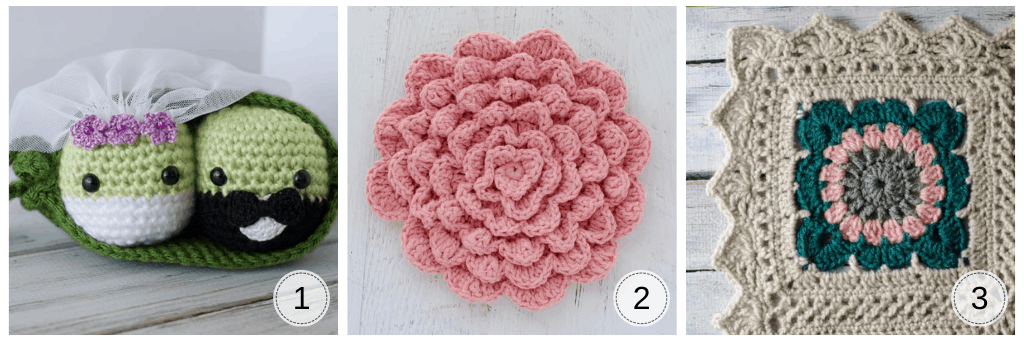 crochet peas in a pod in green, a crochet pink wall flower and a corner of a lacy afghan in cream, teal and pink