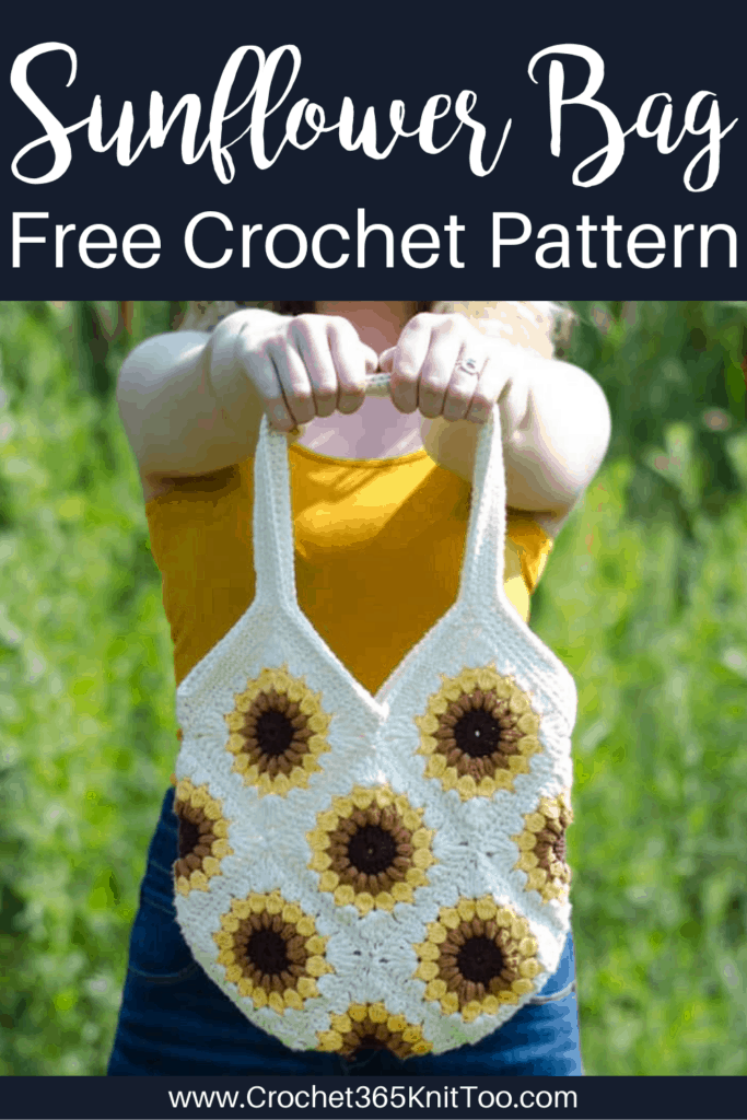 Image of crochet granny square bag in off-white, yellow, gold and brown yarn.