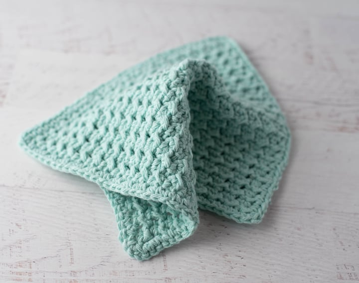 pano de prato de crochê azul