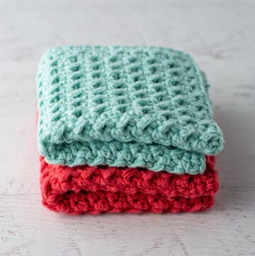 blue and coral crochet dishcloths
