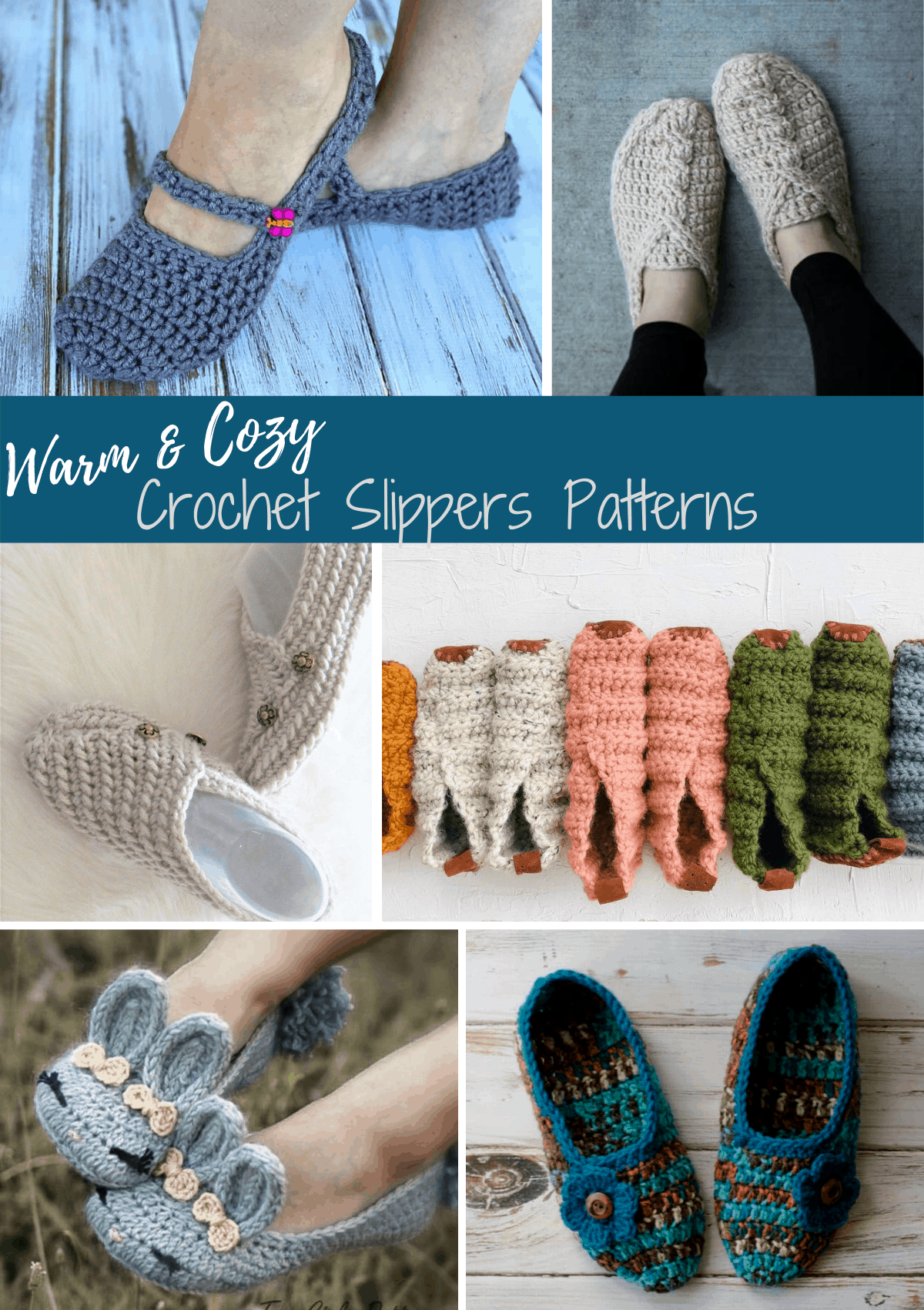 collage of crochet slippers