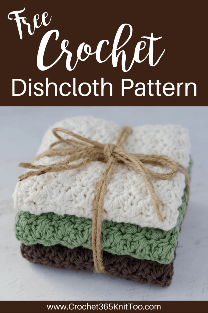 crochet dishcloths in cream, green and brown tied together with jute string