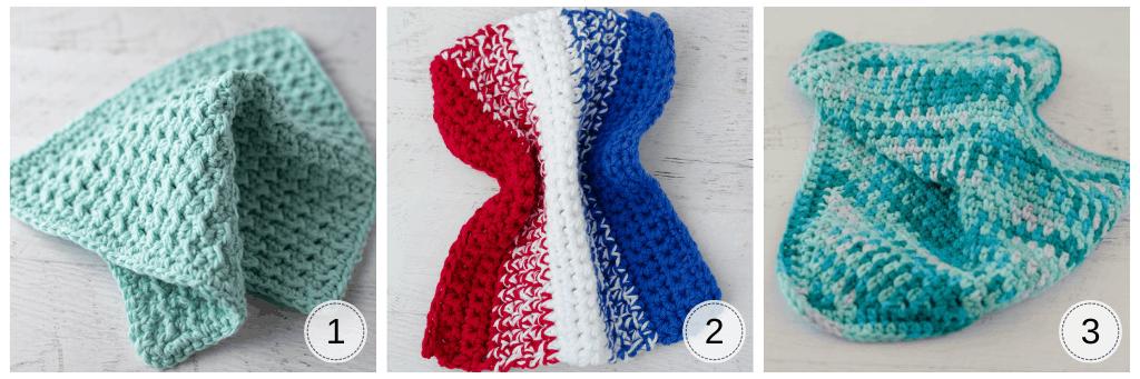 A variety of crochet dishcloths in blue yarn.