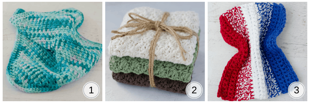 Panos de crochê em azul, cores neutras e vermelho, branco e azul