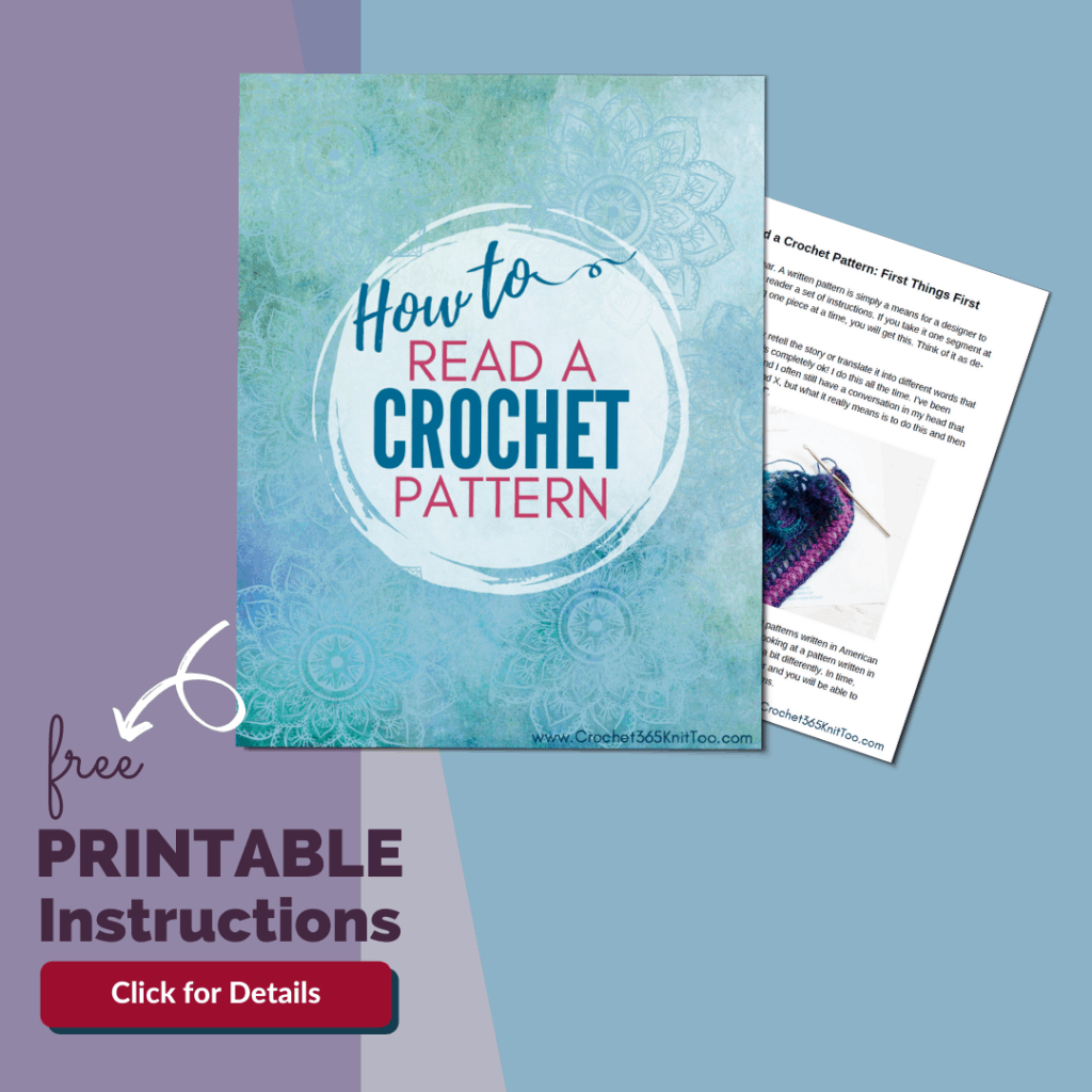 Graphic of printable how to read a crochet pattern