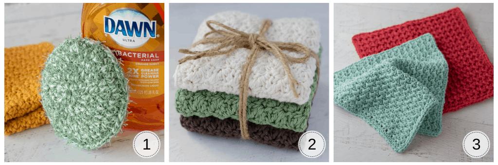 crochet dishcloths and sponge for kitchen