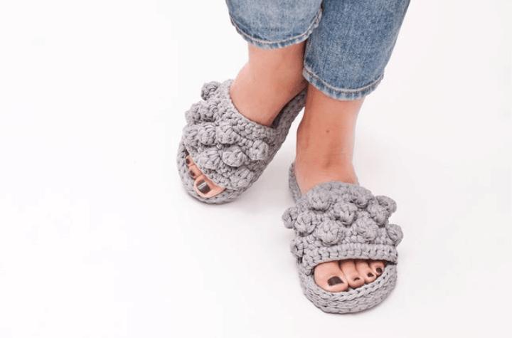 crochet open toe, bobble slippers