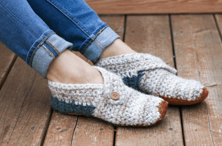 crochet slipper with leather bottom and button strap