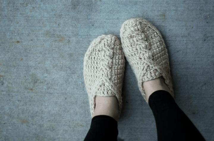 crochet braided slippers