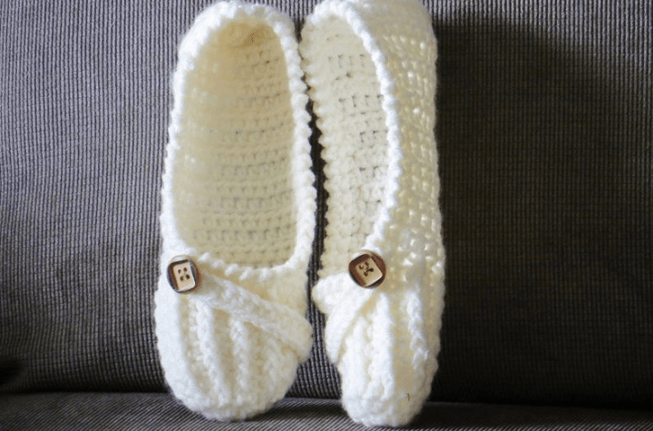 crochet slippers with button