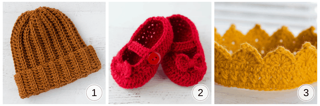 image of hat, red baby slippers, yellow crown