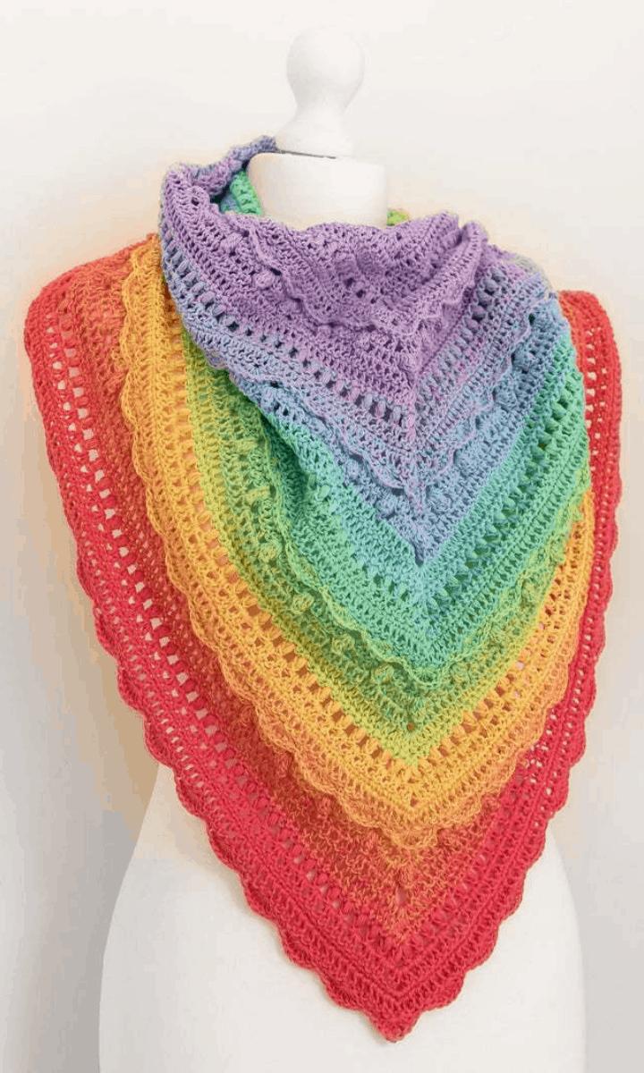 crochet rainbow shawl