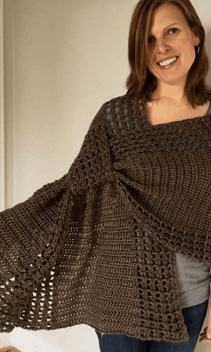 crochet brown wrap shawl