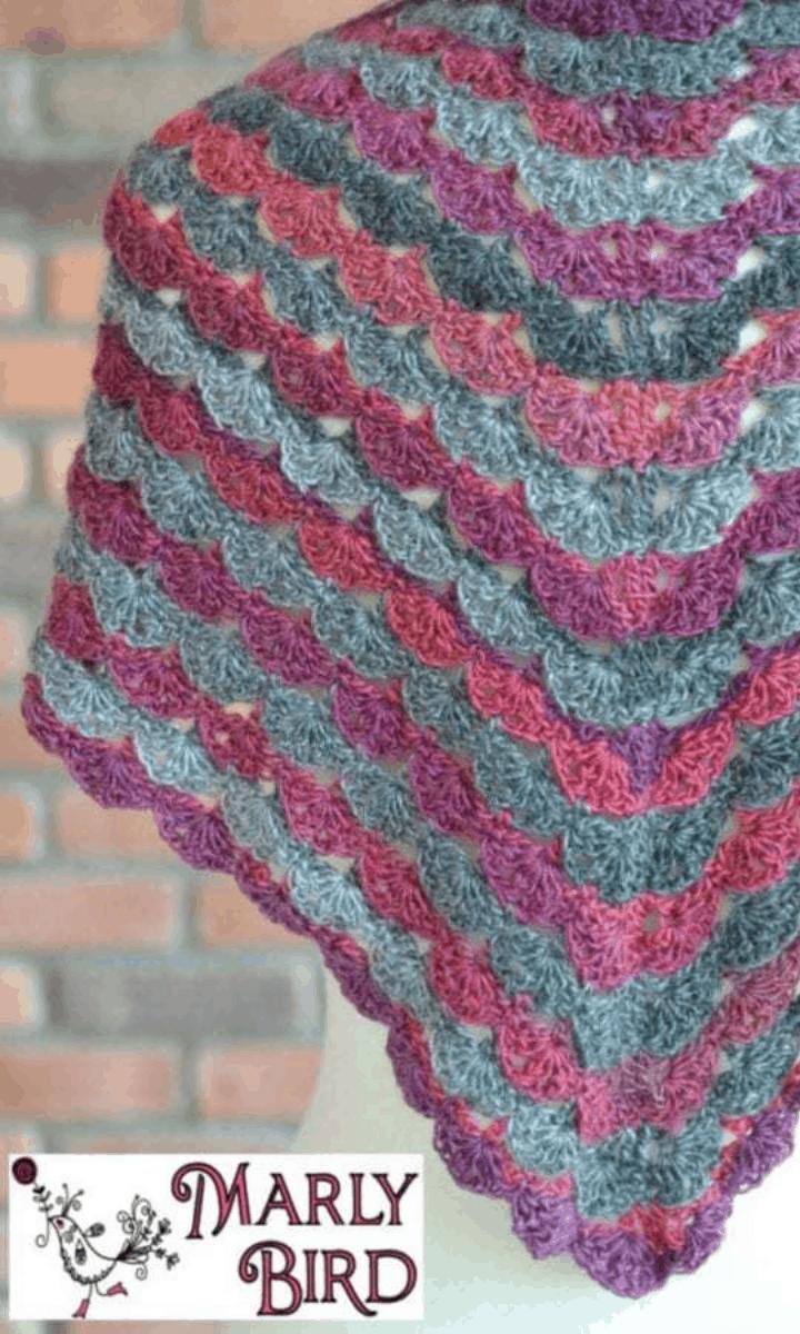 crochet purple and blue shell shawl