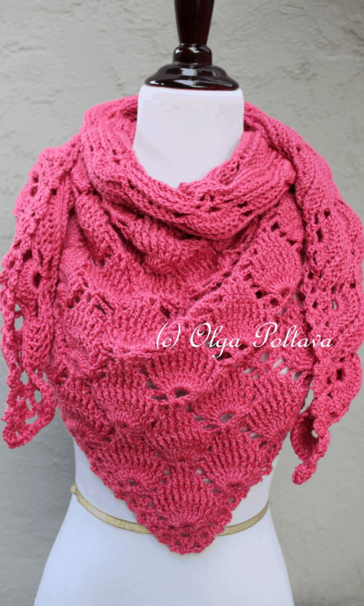 crochet pink wrap shawl