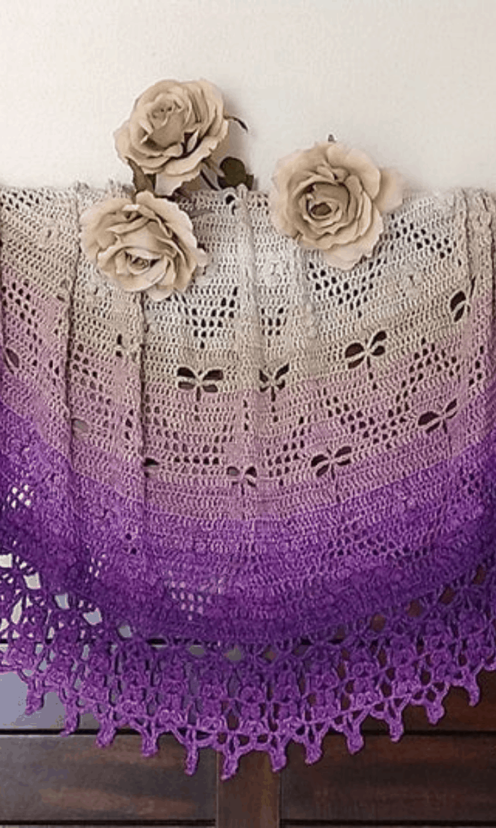 crochet purple to white ombre dragonfly shawl