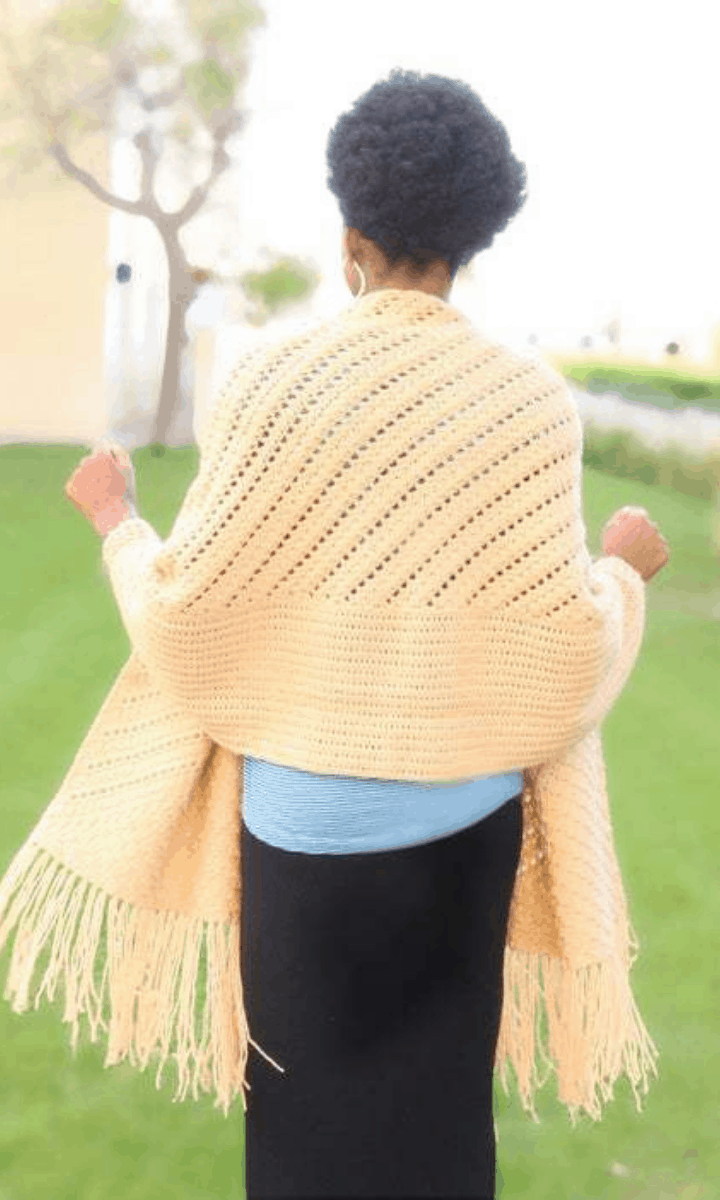 crochet yellow shawl with fringe